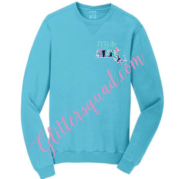 Turquoise Crew Neck State / Lilly Pulitzer Fabric State / Greek Letter Sweater / Alumni Sorority / Sister / Glitter Embroidered Sweater