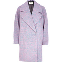 River Island Womens Pink two-tone wool-blend oversized coat