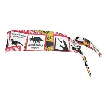 Dinosaur Caution Signs Tie Headband