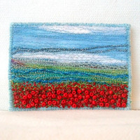 Poppy field - Fibre ACEO - embroidered and beaded miniature fabric art