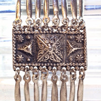 Vintage Sterling Silver Aztec Style Mexico Link by Mercivintage