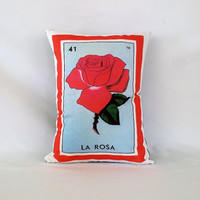 Rosa (Rose) Loteria Pillow Cover with Zipper - Linen Cotton Canvas - Mexico Chic - Day of the Dead, Dia de los Muertos