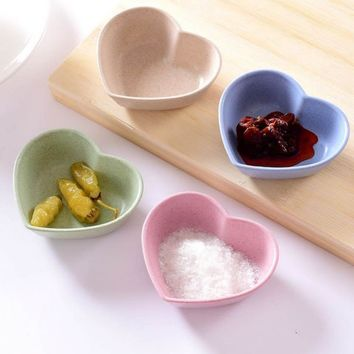 Wheat Straw Heart-shaped Vinegar Seasoning Dish Solid Soybean Sauce Salt Snack Small Plate 20