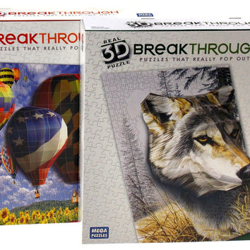 Real 3D Breakthrough Puzzle Pop Out Wolf Watcher & Hot Air Balloons Mega 18x24