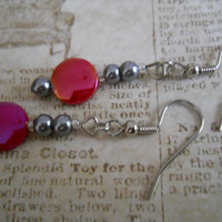 Dark Pewter Storm Cloud Steel Gray Pearl Earrings Fuchsia Rose Ruby Red Pink Mother of Pearl Shell Beaded Jewelry