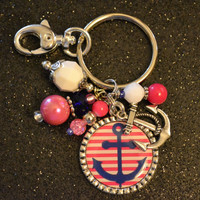 Anchor Pink and Blue Stripe Bezel Pendant Key Chain, Keychain, Gift