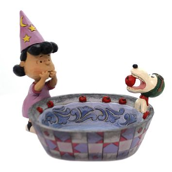 Jim Shore APPLE ACE CANDY DISH Polyresin Peanuts Lucy Snoopy 6000982