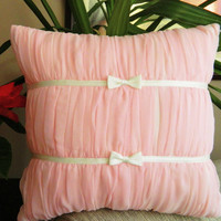 $29.00 Decorated with pink chiffon pillow cover by originalboutique