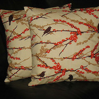 """Pillows Decorative Pillows Tangerine, Ivory set of TWO Sparrows 18 inch Throw Pillow Covers orange 18"""" Joel Dewberry Aviary 2"""