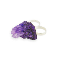 WAS £44 - Andra. Druzy Quartz Double Ring