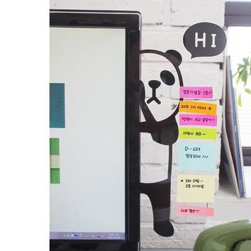 Cute Bear Panda Sticker Computer Display Screen Post Memo Wall Sticker Multifunctional Indoor Bookmark Notes Message Board