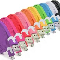 Josi Minea® 6 Pcs Flat Tangle Free Premium High Quality Micro USB Rainbow Cables 10 Feet / 3 Meter Charger Sync Data Rapid Charging Cable USB Cord Wire for Samsung Galaxy S3 / S4 / S5 / S2, Samsung Galaxy Note / Note 2 / 3 / 4, Galaxy Tab, Google Nexus 7 /