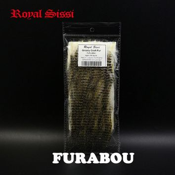 Royal Sissi 1pack 8cm*15cm fly tying FURABOU grizzly craft fur Medium Long Haired streamers fly tying materials nymph wing&tails