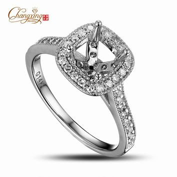 5.0mm Cushion Cut 14k Gold Natural Full Cut Diamond Semi Mount Ring Settings