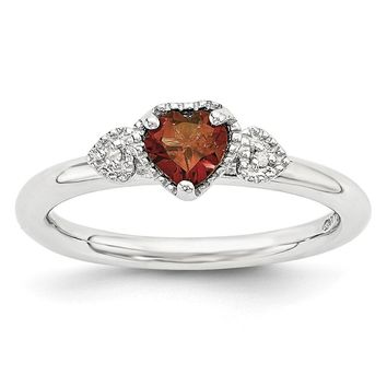 Sterling Silver, Garnet & .01 Ctw I3 H-I Diamond Stackable Hearts Ring