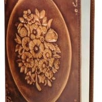 Floral Wreath Brown Italian Leather Journal (6'x8
