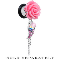 00 Gauge Pink Gem Angel Wing and Pink Rose Single Flare Dangle Plug | Body Candy Body Jewelry