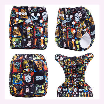 Ananbaby Reusable Cloth Nappy Star Wars With Soft Inner Baby Diaper Waterproof Pul Cover With Microfiber Insert Suit 0-2 Year
