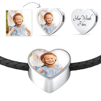 Personalized Photo Of Your Daughter, Son, Couple, or Pet Heart Leather Bracelet - Mother's Day Gift With Personal Picture + Personalized Engraving