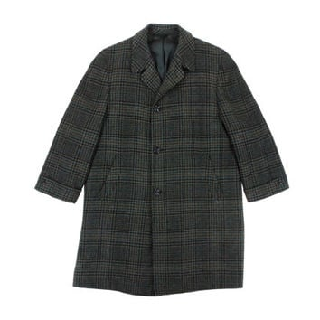 Vintage Grey Plaid Overcoat - Outerwear Winter Coat Black Blue Ivy League Menswear - Men's Size 36 38 Small Medium S M