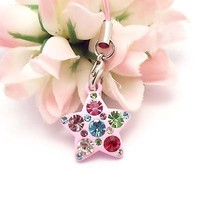 Pink Star with Multi Stones Cell Phone Charm Strap Rhine Stone