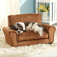 Tan Luxury Sofa Chair Style Raised Dog Bed