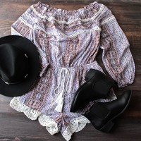 the perfect coachella off the shoulder indie romper
