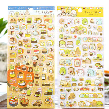 Cute Dinning Sushi Sumikko Gurashi Stickers Diary Sticker Scrapbook Decoration PVC Stationery DIY Stickers School Office Supply
