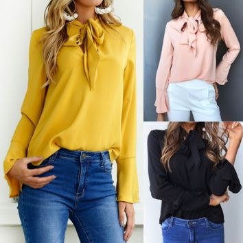 Women Solid Color Long Sleeve Shirt