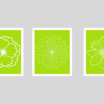 Set of 3 White Flower Blossoms on Lime Green Background Prints CUSTOM COLORS Modern Art Prints for Nursery Decor Colors Modern prints 8x10