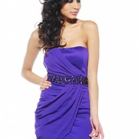 Purple Chiffon Overlay Strapless Dress with Jewel Detail