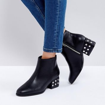 London Rebel Silver Stud Mid Heel Ankle Boot at asos.com