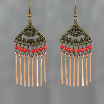 Coral copper wiring dangling chandelier earring bridesmaids gifts Free US Shipping handmade Anni Designs