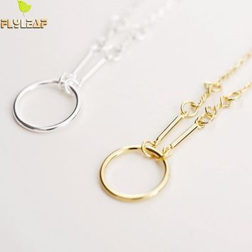 Flyleaf Brand 925 Sterling Silver Simple Circles Necklaces & Pendants For Women Fashion Lady Gift Sterling-silver-jewelry