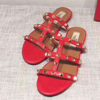 Valention rivet Slippers Casual Fashion Women Sandal Slipper Shoes red H-ALXY