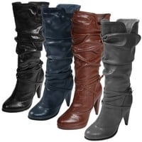 Journee Collection Strap Detailed High Heel Slouchy Boot