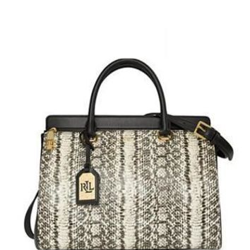 Lauren Ralph Lauren Whitby Snake Embossed Large Convertible Satchel
