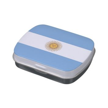 Patriotic candy tins with Flag of Argentina