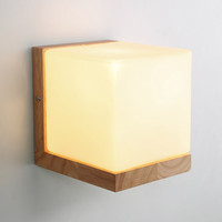 Wall Lamp Night Light Wood+Glass E27 Socket Vintage Morden Style For Bed Room Foyer