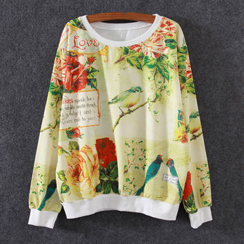 White Floral Bird and Stamp Print Loose Sweatshirt