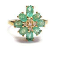 10K Yellow Gold Emerald and Diamond Ring Size 8