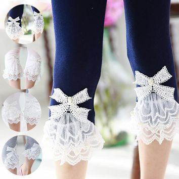 Girl's Bow Lace Leggings