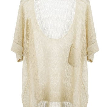 Fold-over Cuffs Knitted Jumper [NCSWD0103] - $28.35 :