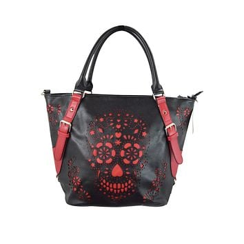 Banned Apparel Sugar skull Day of the dead Black & Red Laser Cut Design purse