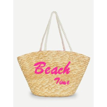 Letter Embroidery Straw Tote Bag - Purse - Large Bag - Beach Bag