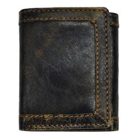 Men's Black Distressed Leather Tri-fold Wallet