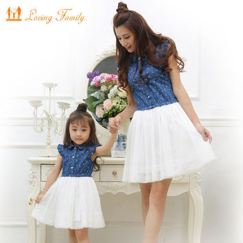 Mother Daughter Dresses 2017 Summer Family Clothing Mom and Daughter Dress Family Matching Outfits Mommy and me clothes