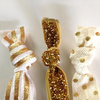 Gold Stripe Polka Dot Cream Glitter Hair Ties Tie by emmaflhair
