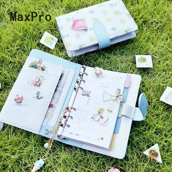 2017 Japanese Cute Fresh Style Office Personal Time Organizer Kawaii Agenda Planner Travel Journal A6 Leather Binder Notebook