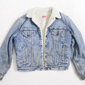 Vintage 1980s Denim Sherpa Jacket - LEVI'S Fleece Jean Jacket Acid Wash - Medium 40""